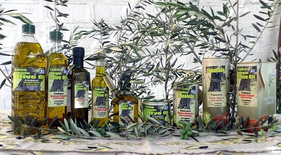 panou extra virgin olive oil bottles