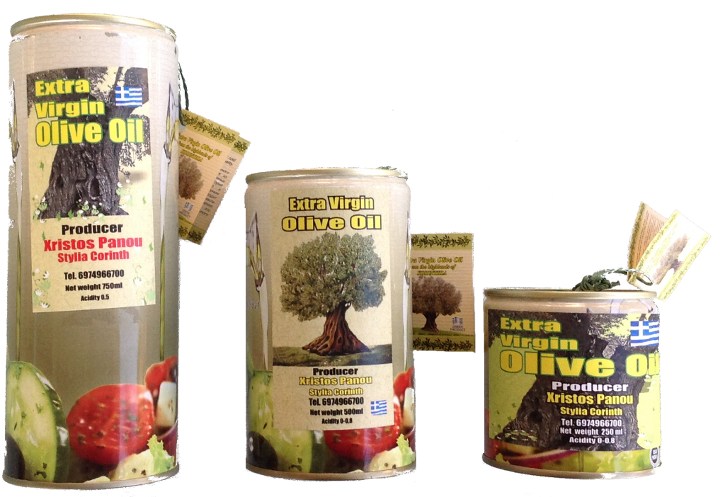 Greek Extra Virgin Olive Oil in Metallic Cans by Christos Panou